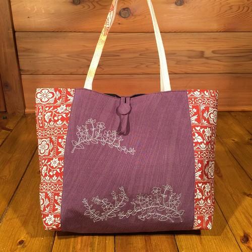 帯と刺繍のトートバッグ『ヒメツルニチニチソウ』