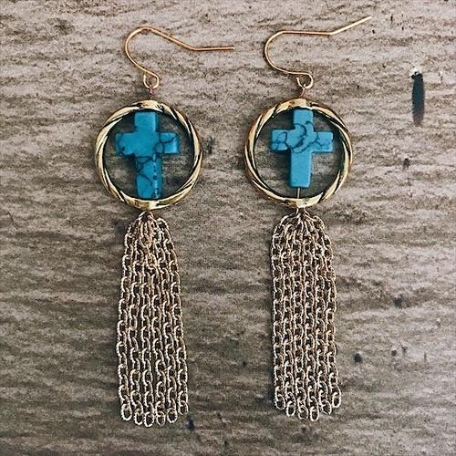 Cross turquoise circle × fringe earrings