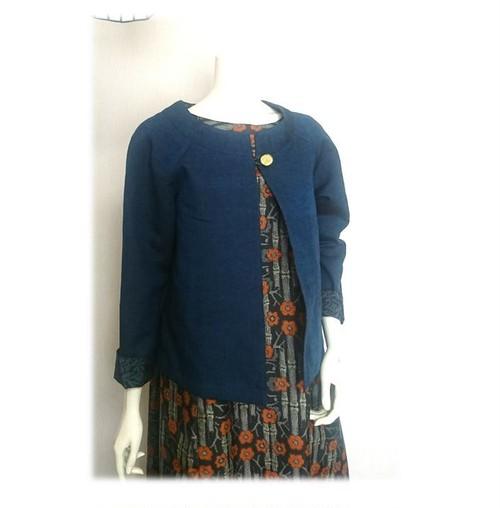 10*紬リメイクショートジャケット(紺)