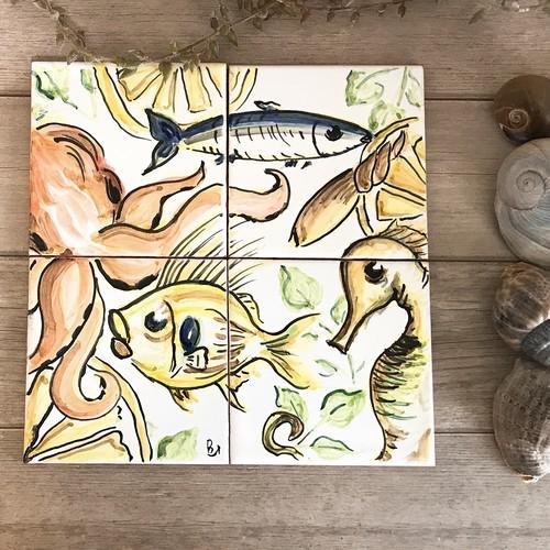 マヨリカ焼き タイル 10cm×10cm 4枚セット 魚柄