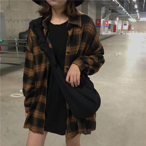 【送料無料】 秋っぽチェック♡ タータンチェック ビッグシルエット シャツ カジュアル トップス