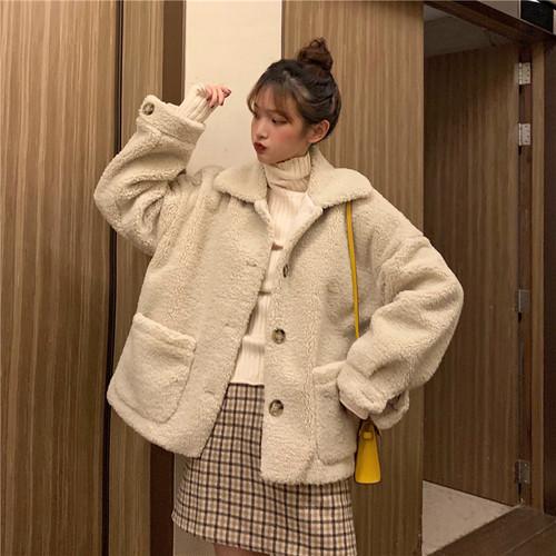 新作  韓国ファッション ゆったり  折り襟  長袖  無地  コート・アウター