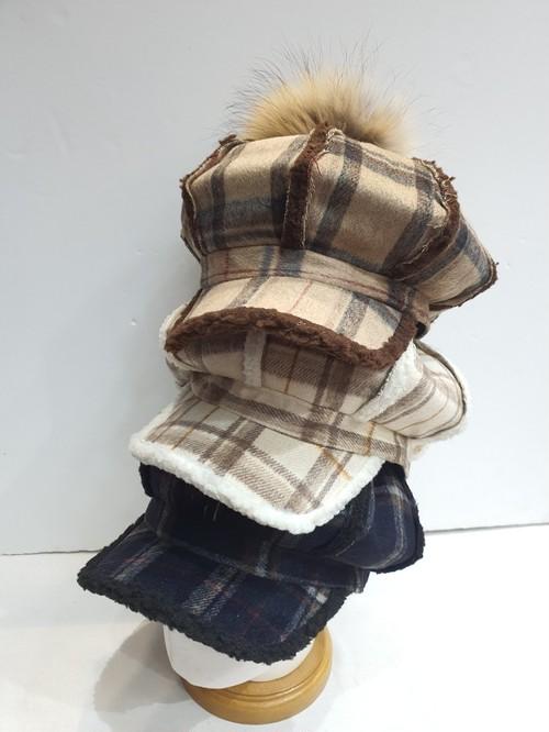 チェックもこもこキャスケット キャスケット チェックキャスケット 韓国ファッション