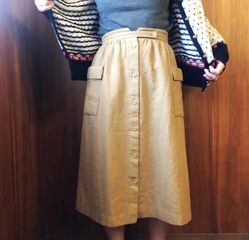 USED  ウールスカート フロントボタンスカート シンプル ベージュ