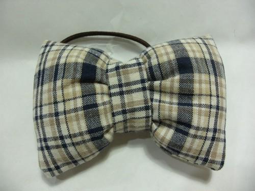 布で縫い縫いヘアゴム(チェック)