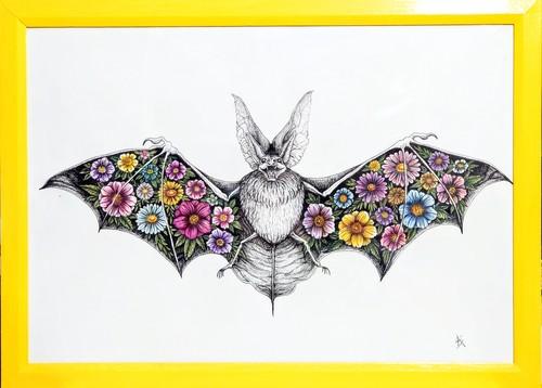 Bat & flowers