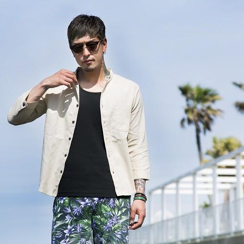 """【HEDWiNGサイト限定】No collar """"Hemp"""" shirt   Beige"""