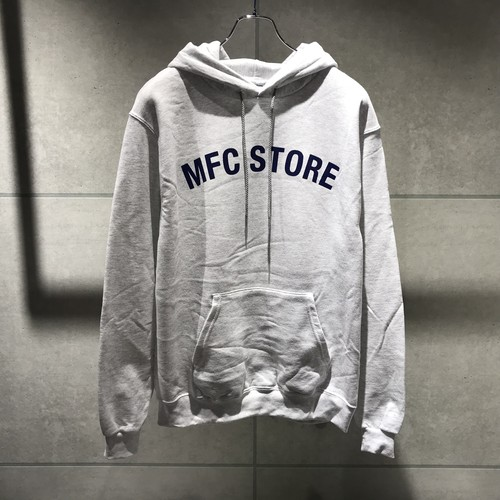 MFC STORE ARCH LOGO HOODED SWEAT SHIRT / SILVER GRAY x NAVY