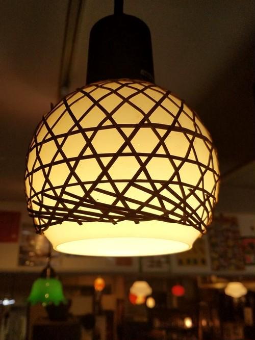 竹編み細工のレトロなペンダントライト