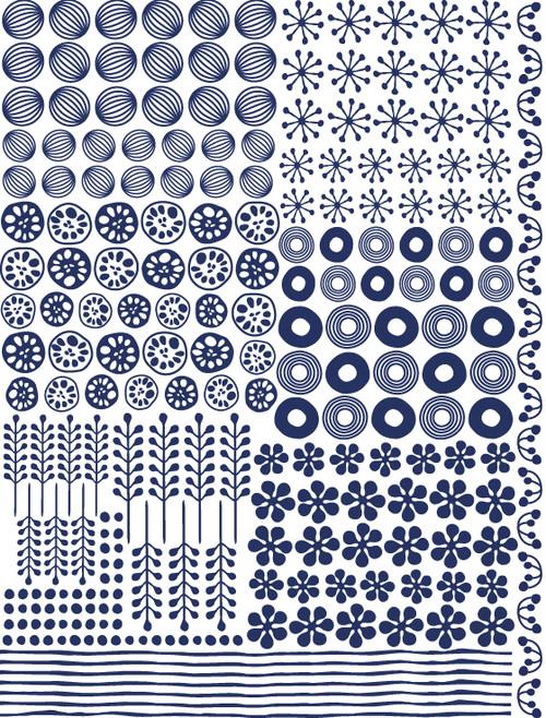紬(つむぎ ツムギ) 紺色 Aタイプ(ポーセラーツ和柄転写紙)