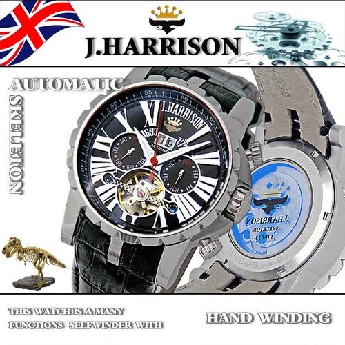 【J.HARRISON】JH-033BK バックスケルトン多機能付、手巻&自動巻腕時計