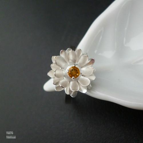 Lotus 蓮の花のリング - citrine silver -