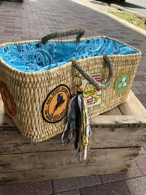 Decorated Basket, Turquoise Bandana