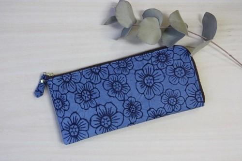 ピッグスキンのスリムな長財布L字型 フラワー ブルー