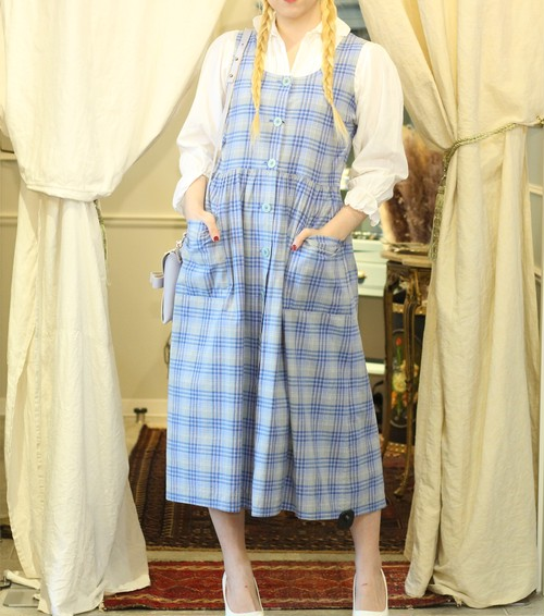 FRENCH VINTAGE CHECK PATTERNED NO SLEEVE ONE PIECE/フランス古着チェック柄ノースリーブワンピース