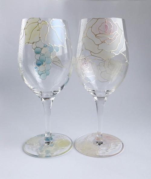 【水色ぶどうorピンクバラローズ】ワイングラス1個|母の日・父の日・両親贈呈品・結婚祝い・新居祝い・結婚記念日ギフト