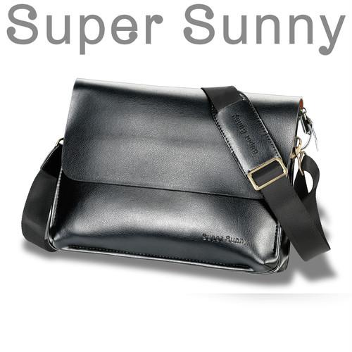 Super Sunny メンズ ショルダーバック レザー ブラック 肩かけバッグ ベーシック 革
