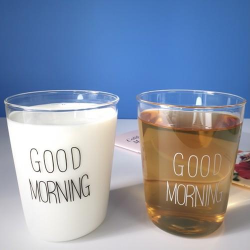 【1+1】good morning glass cup 2P set / グッドモーニング レタリング ガラス コップ セット 韓国 インテリア 雑貨