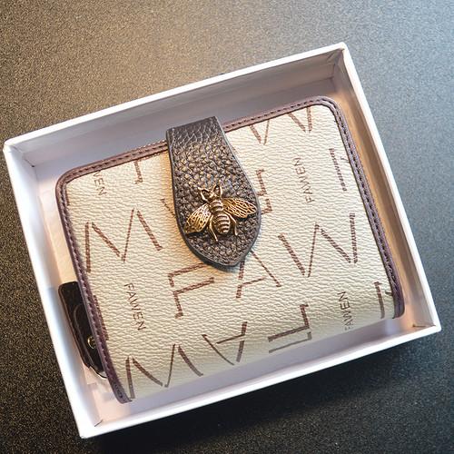 ミツバチ 財布 二つ折り 小さい レディース カード入れ 短財布T10019
