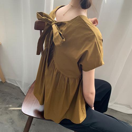 【トップス】CHICファッション無地リボン着やせ見え半袖シャツ