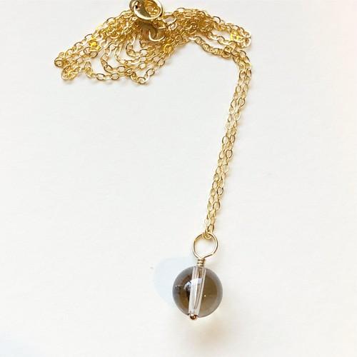【限定】群馬県産 天然スモーキークォーツ  Like water flow  水晶のネックレス