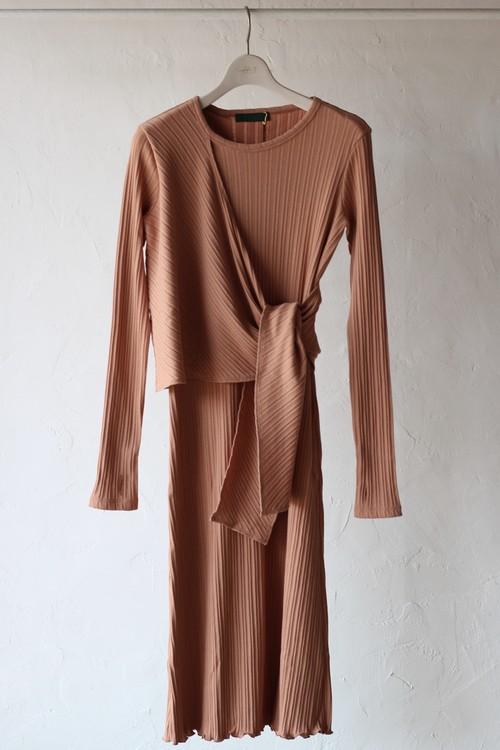 【KOTONA】rib long dress-pink