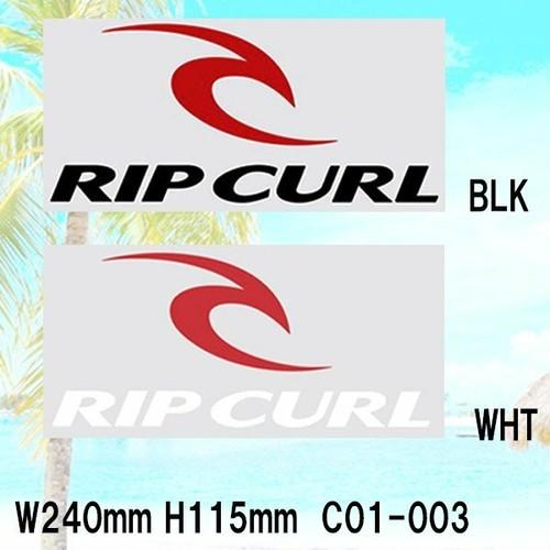 C01-003 リップカール ステッカー W240mm H115mm メンズロゴ ブラック 黒 RIPCURL