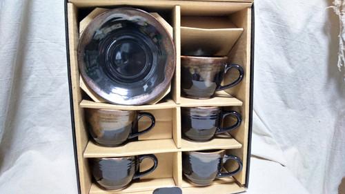 中古【コーヒーカップ/ソーサー】『良品』 コーヒーカップ ソーサー 5客セット ブラウン 珈琲碗皿 五客 揃 / 天目 焼物 陶器