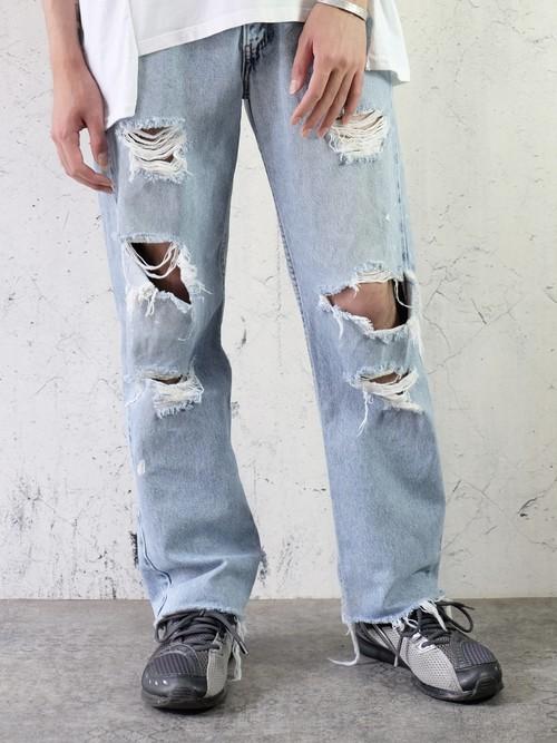 crash denim pants
