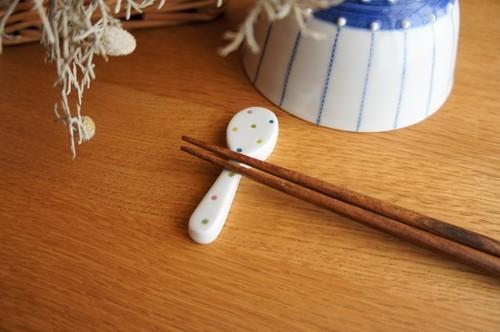 砥部焼/箸置き(スプーン型)/カラフルドット