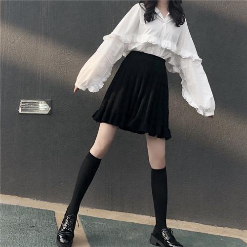 【送料無料】 使い回せるセットアップ♡ レース ランタンスリーブ ブラウスシャツ ニット ミニスカート