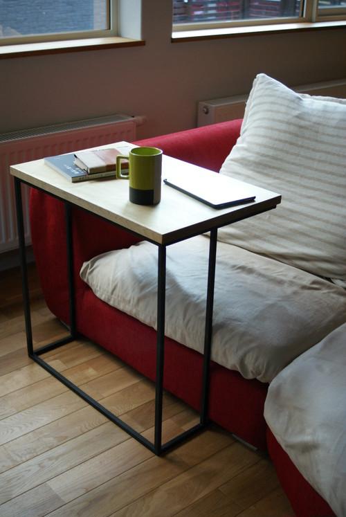 朴 無垢材 × アイアン コの字型サイドテーブル