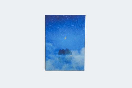 夜の湖に浮かぶ、月とを描いた、ファブリックボード