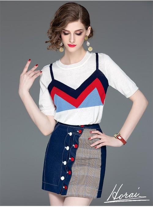 個性的 セットアップ Tシャツ デニムスカート ミニ丈 ボタン 半袖 チェック柄 重ね着風 お出掛け カジュアル 20代
