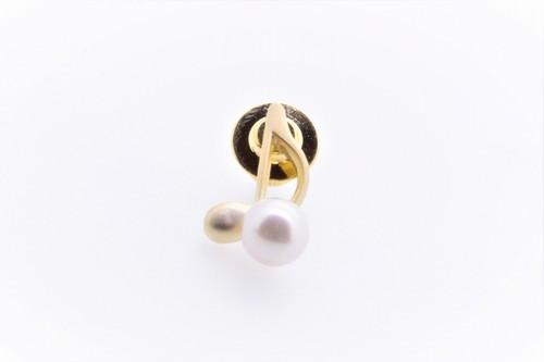 アコヤ真珠 ピンブローチ〈音符〉ゴールドカラー