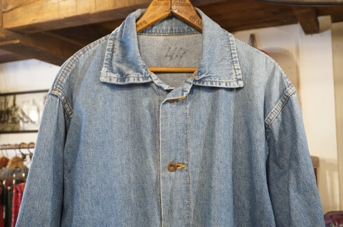 70's unknown light blue cotton work Jacket