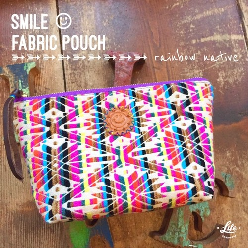 SMILE fabric pouch / Rainbow native