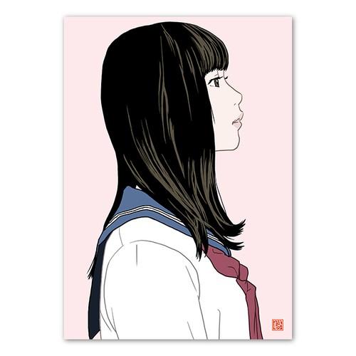 白いセーラー服の横顔女子