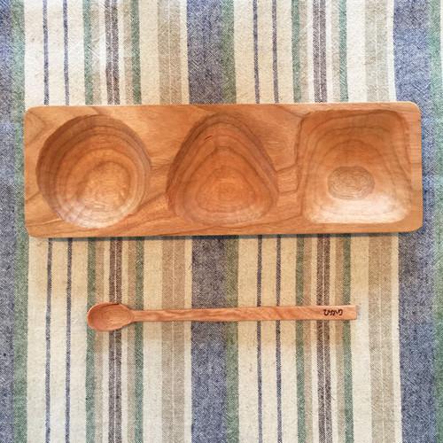 """名入れギフト♪木彫りの""""まる・さんかく・しかく""""プレート&スプーンの離乳食セット#出産祝い"""