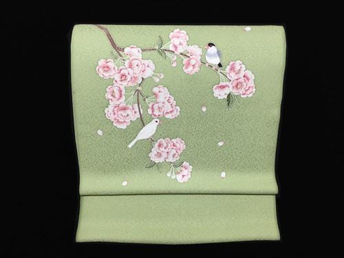 なごや帯「八重桜に文鳥」