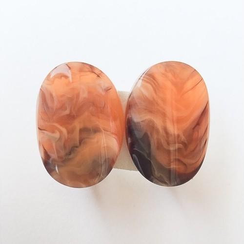 orange marble earring[e-888]
