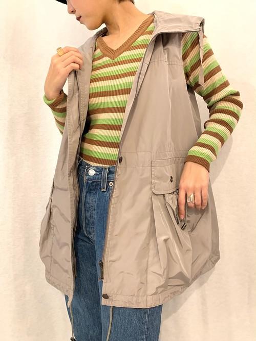 (TOYO) full zip hoodie vest