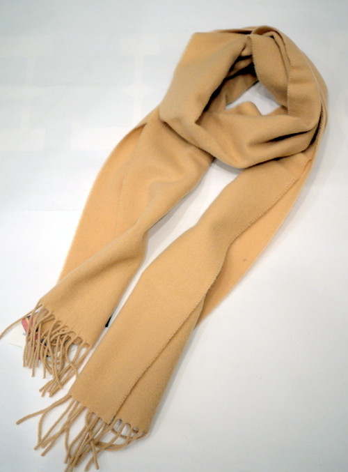 Glen Prince Classic Plain Lambswool Scarf Camel