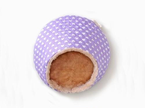 ハリちゃんのおやすみベッド(冬用) きらきらハート パープル / Hedgehog bed for winter