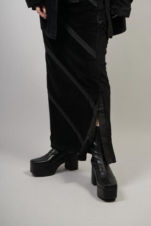 PLATFORM STRETCH SHORT BOOTS  (BLACK) 2108-73-16