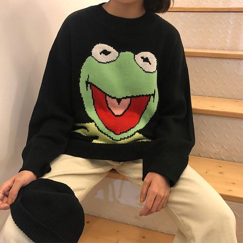 【トップス】カートゥーンキュートカジュアルラウンドネックセーター