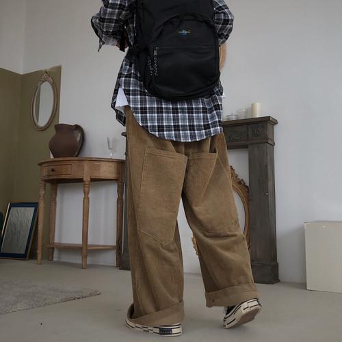 【送料無料】ゆるだぼ ♡ カジュアル メンズライク オーバーサイズ コーデュロイ ワイド パンツ ボトム
