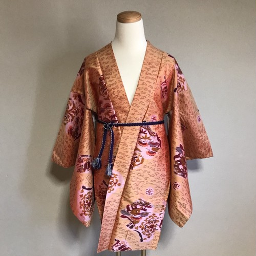 Vintage HAORI Silk Light brown × pattern of Reef and landscape