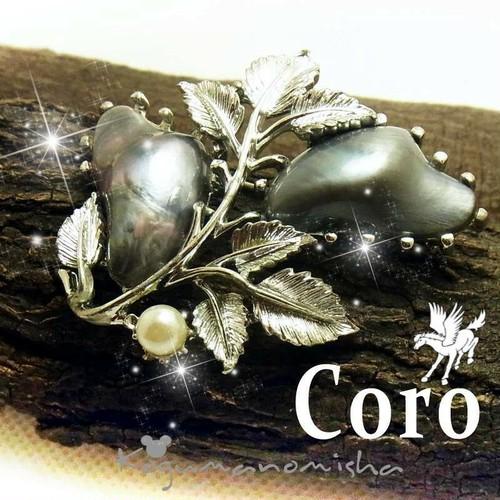 豪華なバロック珠★ヴィンテージ CORO フェイク ブラック パール フラワー ブローチ 1950s  コロペガサス