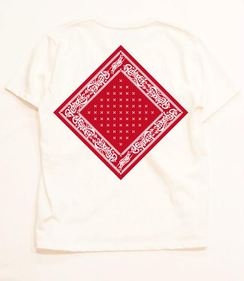 RAKUGAKI Bandana T-Shirts White x Red